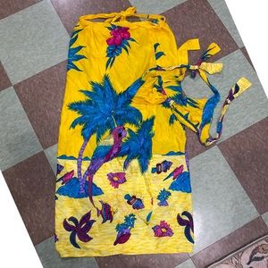 anthro vtg yellow two piece beach coverup sm md
